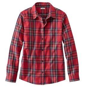 L L Bean Scotch Plaid Flannel Shirt Size Large